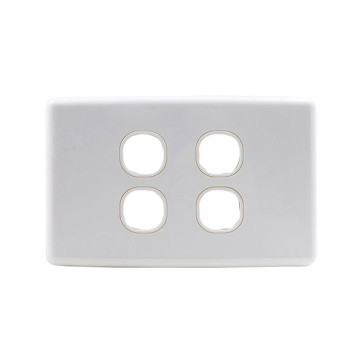 Amdex Custom 4 Gang Wall Plate with Full Cover White WPC-4