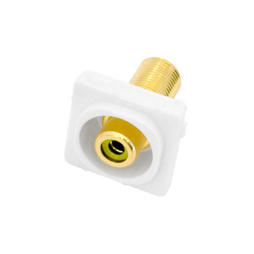 RCA Yellow Female Recessed to F Type Female Wall Plate Insert