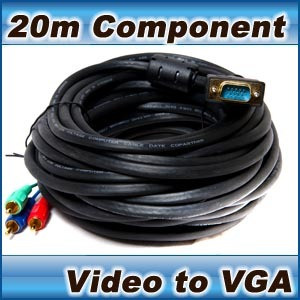 Component Video (3 RCA) to VGA cable- laptop tv pc 20m