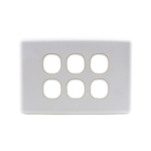 Amdex Custom 6 Gang Wall Plate with Full Cover White WPC-6