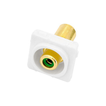 RCA Green Female Recessed to F Type Female Wall Plate Insert