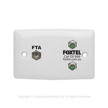 Wall Plate 1 x PAL Female / 2 x F-Type Female 3Ghz FTA & Foxtel Logo APO22/FOX23