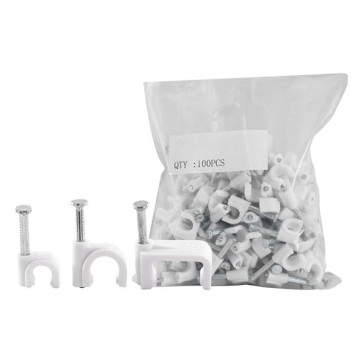 Cable Clip 8mm White to suit RG6 Quad 100 Pack 8RCCW