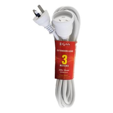 Doss Power Extension Lead 3m White EXL3M