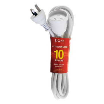 Doss Power Extension Lead 10m White EXL10M
