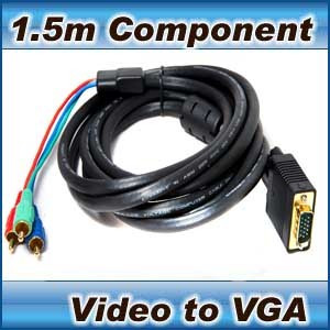 1.5m Component Video (3 RCA) to VGA cable- laptop tv pc