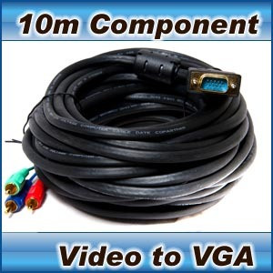 Component Video (3 RCA) to VGA cable- laptop tv pc 10m