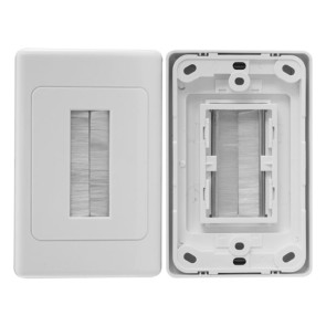 Pro2 Brush Cable Management Wall Plate White PRO1272