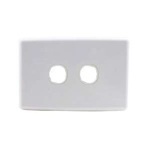 Amdex Custom 2 Gang Wall Plate with Full Cover White WPC-2