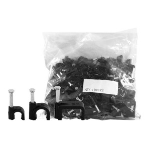 Cable Clip 8mm Black to suit RG6 Quad 100 Pack 8RCCB