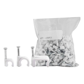 Cable Clip 15mm White to suit Siamese RG6 Quad 100 Pack 15RCCW