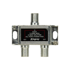Kingray 2 Way Splitter 5-2400 MHz Power Pass All Ports KSP2F